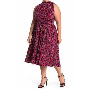 Leota Mindy Mock Neck Tie Midi Dress in 20w 22w